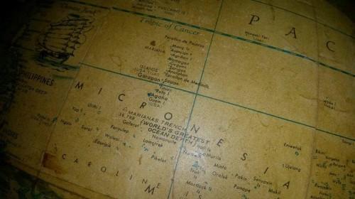 La Micronésie (mappemonde du café Alphabet Ave., Kyoto).