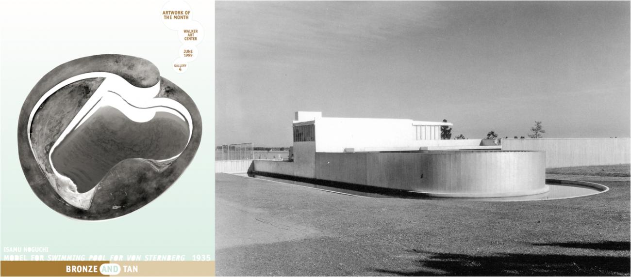 En couverture du Artwork of the month de juin 1999, le moule en bronze de la piscine conçue par Isamu Noguchi, à la demande de Neutra, mais jamais construite / La maison de Josef von Sternberg dans la vallée de San Fernando, dessinée par l'architecte Richard Neutra.