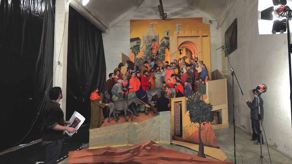 Sur le tournage de Maestà, la Passion du Christ.