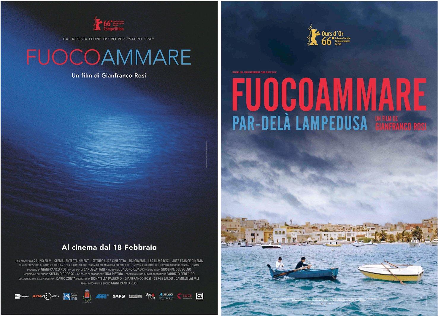 Affiches italienne et française de Fuocoammare.