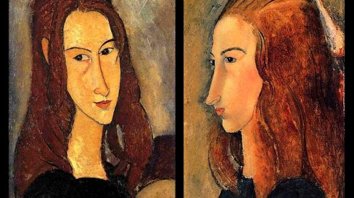 amedeo-modigliani-red-haired-girl-and-portrait-of-jeanne-hebuterne