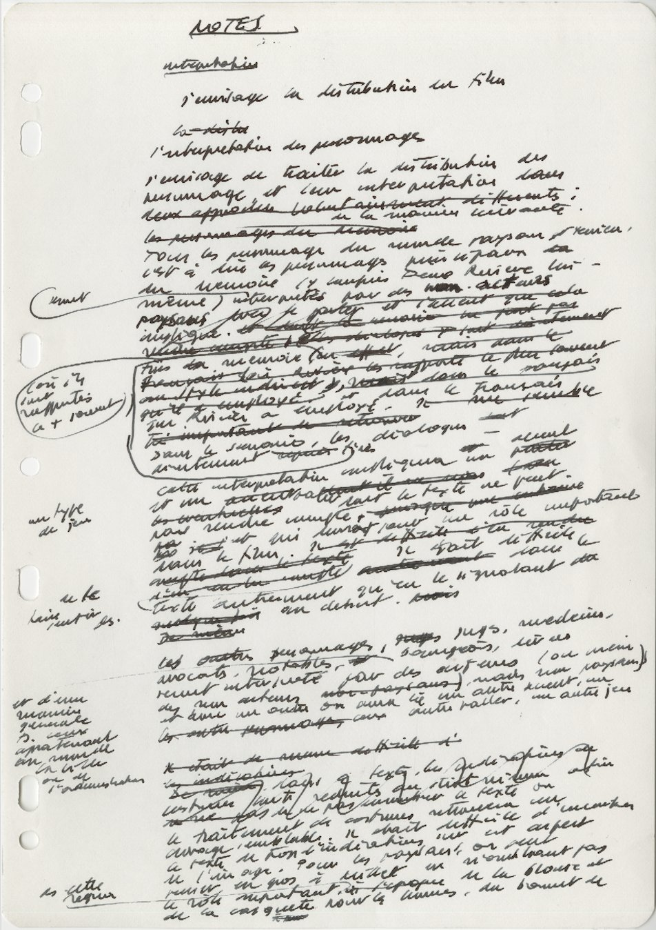 Deux pages du brouillon de la note d'intention du scénario (fonds IMEC – ALL 10.1).