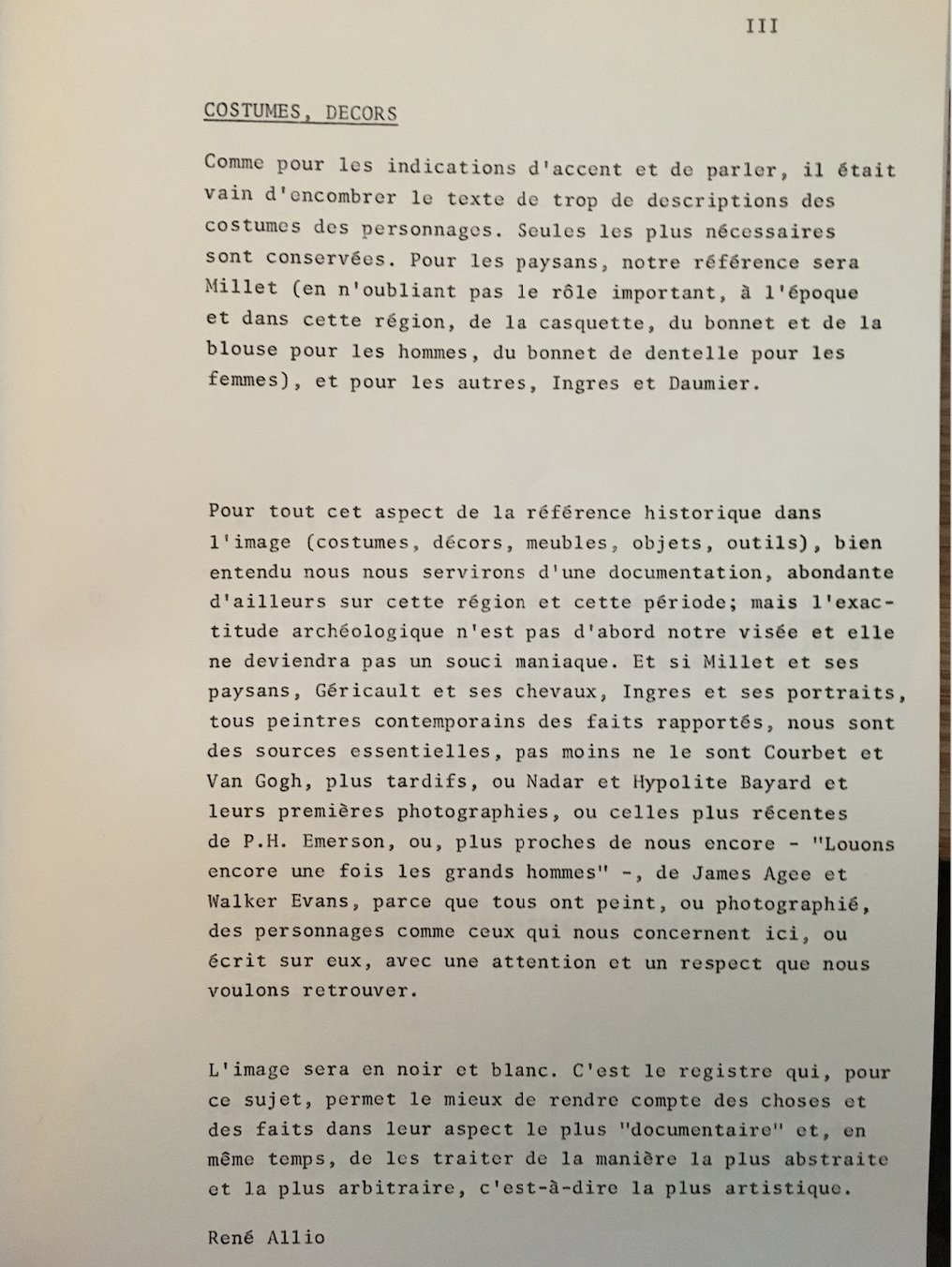 Trois pages extraites de la note d'intention de la version finale du scénario (Fonds Annette Guillaumin).
